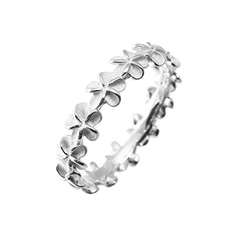 Aloha Jewelry Company Sterling Silver Plumeria Eternity Wedding Band Stackable Ring (10)