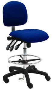 """Deluxe Fabric Ergonomic ESD Anti Static Chair/Stool with Nylon Base and Footring, 450 lbs Capacity, 19"""" Width x 17"""" Depth,  x 24""""-34"""" Height Dark, Navy Blue, 1 Lever Control from BenchPro"""