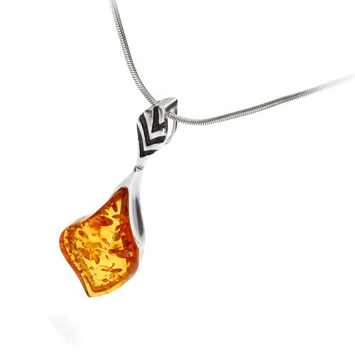 cognac amber pendant on 18-inch sterling silver chain Sterling silver and leaf-shaped