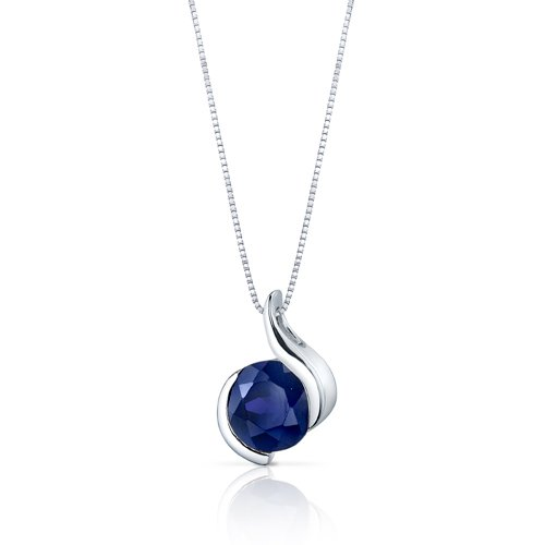 Peora Sterling Silver Pendant Necklace for Women, Dainty Iris Solitaire in Natural, Created and Simulated Gemstones with…