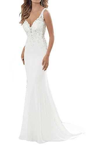 Women's Mermaid V-Neck Beach Wedding Dress 2019 Long Formal Bridal Gowns Size 8 White