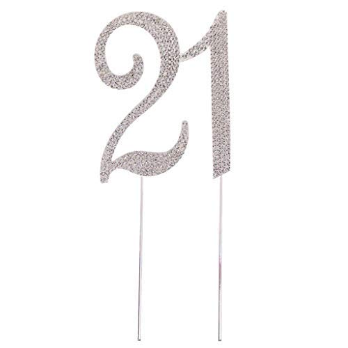 21 Cake Topper Number 21 Cake Topperfor 21th Birthday Party or Anniversary Crystal Rhinestones Decorative Cake Topper for Party Supplies - Silver