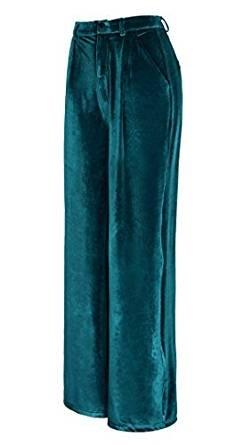 Urban CoCo Women's Vogue Velvet Palazzo Wide Leg Pants (XS, Lyons Blue)