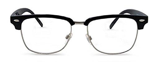 Semi Rimless Metal Clear Bifocal Reading Glasses- Black 1.25