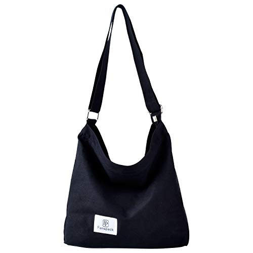 Hobo Grand - Fanspack Women's Canvas Hobo Handbags Simple Casual Top Handle Tote Bag Crossbody Shoulder Bag Shopping Work Bag (Black-Original Design)