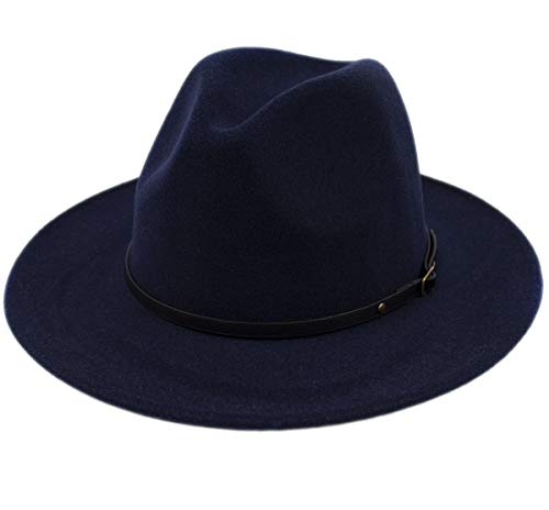 Navy Blue Felt Hat - Lanzom Womens Classic Wide Brim Floppy Panama Hat Belt Buckle Wool Fedora Hat (One Size, Navy Blue)