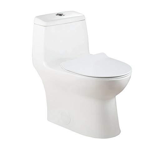 Winzo WZ5027 Elongated Dual Flush One-Piece Toilet, 1.28GPF 3 inch Flush Soft Closing Seat Comfort Height Water Closet Standard 12-inch White