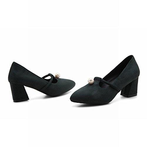 Mee Shoes Damen chunky heels Nubukleder Geschlossen Pumps Dunkelgrün