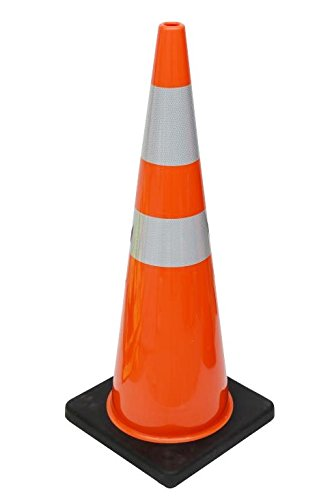 (6 Cones) CJ Safety 36'' Orange PVC Traffic Safety Cones with Black Base & 6'' + 4'' Reflective Collars (Set of 6)