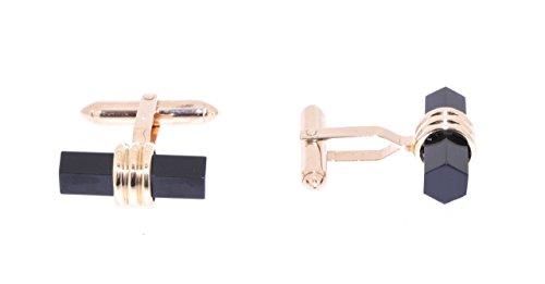 14k Gold Onyx Cufflinks - 14K Yellow Gold Onyx Cuff Links