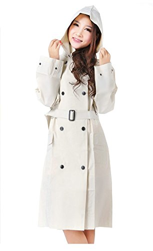 OVOV Women's Rain Jacket Outdoor Waterproof Packable Raincoat Rain Poncho Rainwear with hood Belt (Belted Womens Raincoat)