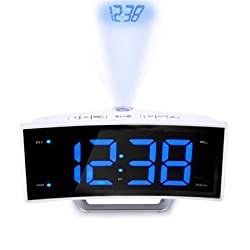WVRGHQTG Watch Desk Projection Clock with Time Projection FM Radio Alarm Clock LED Digital Electronic Table Projector Blue