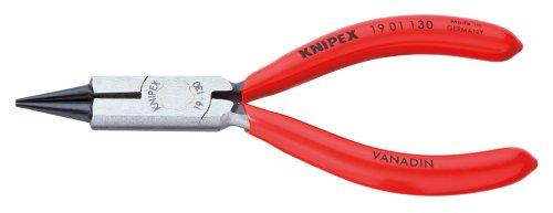 KNIPEX 19 01 130 Rundzange mit Schneide (Schmuckbiegezange) schwarz atramentiert mit Kunststoff überzogen 130 mm