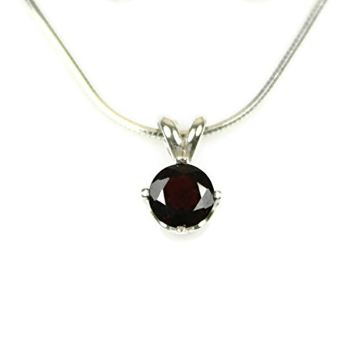 (Red Garnet Necklace 925 Sterling Silver Pendant and 18, 20 or 24 Inch Chain 6MM Round Faceted Gemstone Real Gem January Birthstone)