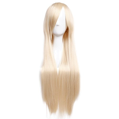 (32 Inch Long Straight Anime Cosplay Wigs with Bangs Japanese Heat Resistant Synthetic Hair for Women Girls Halloween Costume 10 Colors(Linen)