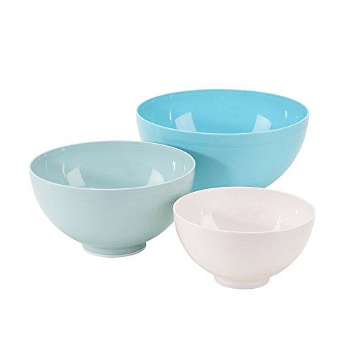 Sweet Creations 3-Piece Mixing Bowl Set, White and Turquoise