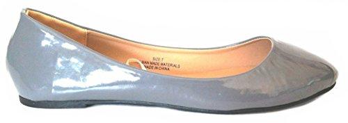 Shoes8teen Shoes 18 Damen Ballerina Ballerinas Flache Schuhe Solids & Leopards ... 1800 Patent Grau