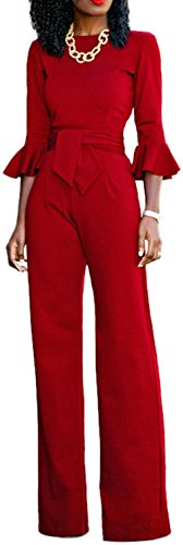 Evesymil Women Elegant Round Neck Flare Sleeve Wide Leg Pants Clubwear Jumpsuit Rompers With Belt Red L