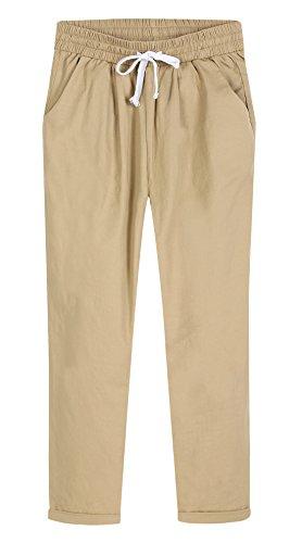 CHARTOU Women's Casual Elastic Waist Loose Cropped Beach Capris Pants