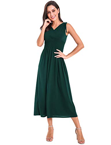 Le Vonfort Elastic Smocked Waist Long Dress for Womens, Simple Chic Silk Feeling Stretchy Maxi Dresses Green Small -