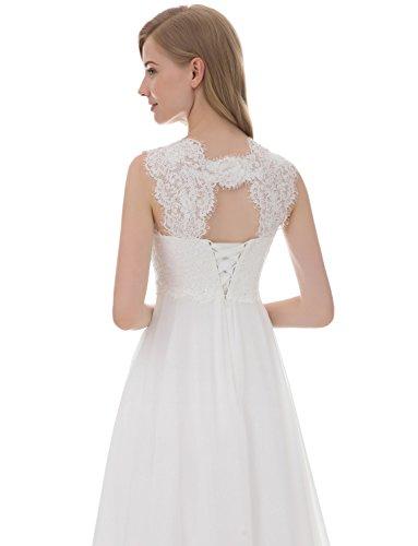 Chiffon Spitze Brautkleid Kurze Erosebridal Elfenbein Hochzeitskleid Kurze qz4n1fw