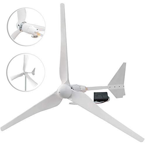 Happybuy Wind Turbine 1500W DC 48V Wind Turbine Generator Kit MPPT Charge Controller with 61Inch 3 Blades Wind Generator for Power Supplementation No Pole