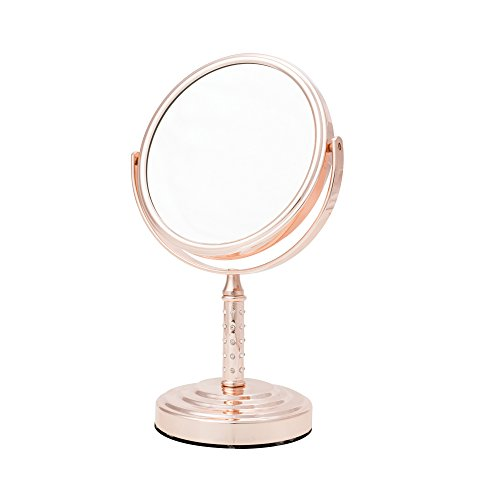 31JqXZNRMpL - Danielle Creations Midi Rose Gold Vanity Mirror with Crystal Studded Stem, 5X Magnification