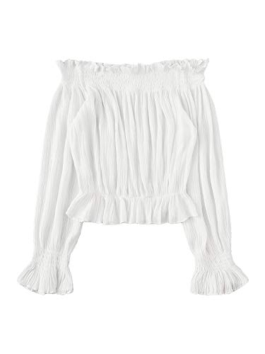 Floerns Women's Off Shoulder Long Sleeve Crop Top Blouse White M
