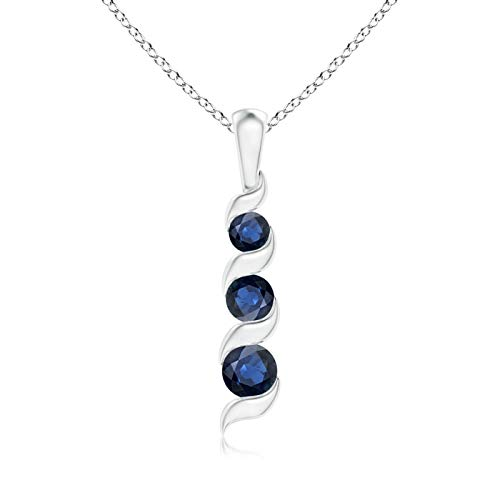 (September Birthstone - Channel Set Round Sapphire 3-Stone Journey Pendant Necklace for Women in 14K White Gold (4mm Blue Sapphire))