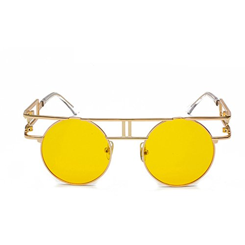 de Circular sol Anillo Océano Amarillo reflectante Marco Lente mujer de Inlefen retro metal Gafas Hombre 8qStdFd