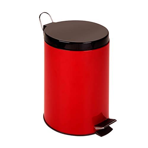 (Honey-Can-Do TRS-02073 Stainless Steel Step Trash Can with Liner, Red, 12-Liter/3-Gallon)