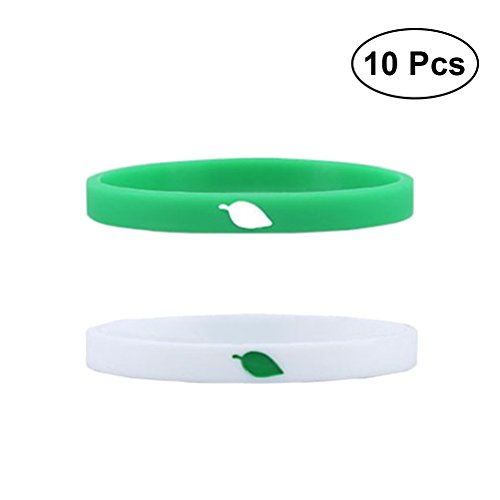 TOYMYTOY Silicone Wristbands Bracelets White Green Custom Bands Party Favors Perfect for Fittness Sports School Carnival 10 -
