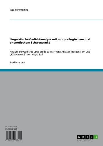 Amazoncom Linguistische Gedichtanalyse Mit Morphologischem
