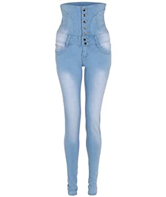 KRISP High Waisted Skinny Jeans Sexy Slim Fit Stretch Button Pants Full Length