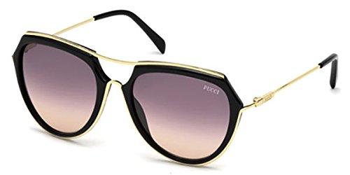 EMILIO PUCCI sunglasses EP 0016 sunglasses 01B Black and gold - Sunglasses Pucci