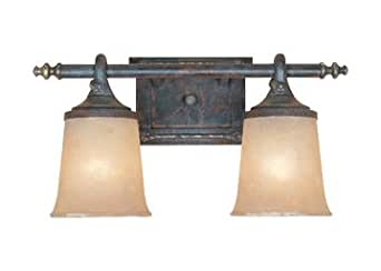 Weathered Saddle Two Light Down Lighting Wide Bathroom Fixture From The Austin