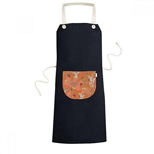 DIYthinker Desert Cactus Savanna Orange Trees Cooking Kitchen Black Bib Aprons With Pocket for Women Men Chef Gifts by DIYthinker