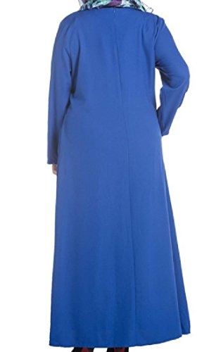 Confortables Femmes Moyen-orient Musulman Surdimensionné Imprimé Floral Bleu Robe De Couture