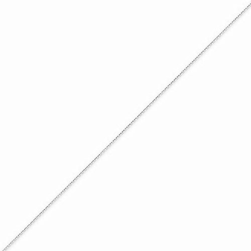 14k White Gold Square Box (14k Gold Diamond-cut Round Cable Chain Necklace with Lobster Clasp (0.5mm) - White-Gold, 18 in)
