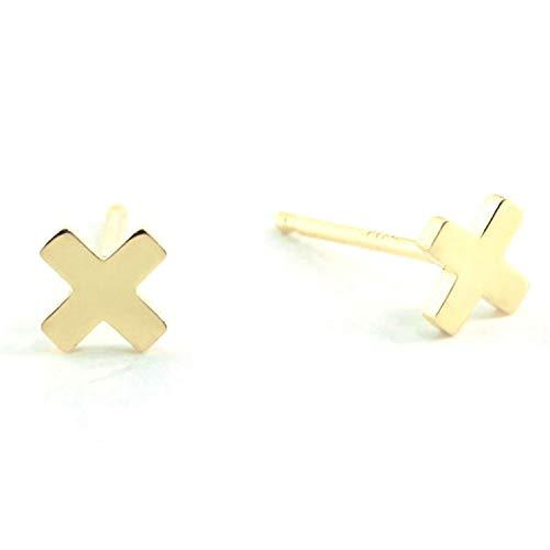 Sterling Silver X Cross Mini Stud Earring ()