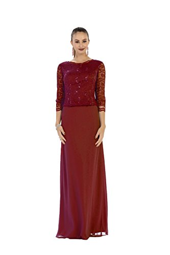 Mother of the Bride Chiffon Dress #1412 (XLarge, Burgundy) - Mother ...