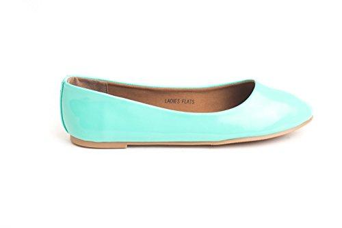 Soho Shoes Women's Casual Ballet Pointy Toe Slide Slip On Fashion Flats Aqua -