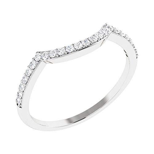 (100% Diamond Ring Luxury Diamond Band Ring For Women Natural Diamond Rings 10K White Gold Real Diamond Rings 1/10 Carat I2-I3-HI Real Diamond Band Rings (Diamond Jewlery Gifts For Women))