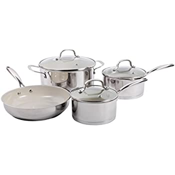 gibson home gleaming 7 piece cookware set with ceramic nonstick interior stainless