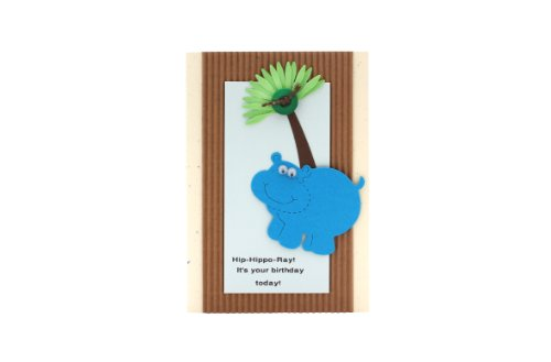 Hip-Hippo-Ray Birthday Card – Fair Trade  Handmade