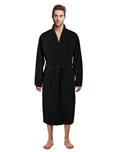 100% Luxurious Turkish Cotton Waffle Diamond Pattern Kimono Spa Bathrobe for Men (Black, XX-Large)