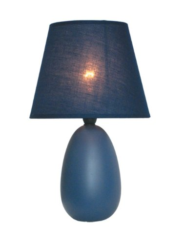 Simple Designs LT2009-BLU Mini Oval Egg Ceramic Table Lamp, Blue