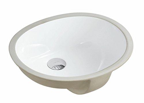 KINGSMAN 17.5 INCH Oval Undermount Vitreous Ceramic Lavatory Vanity Bathroom Sink Pure White (17.5 ()