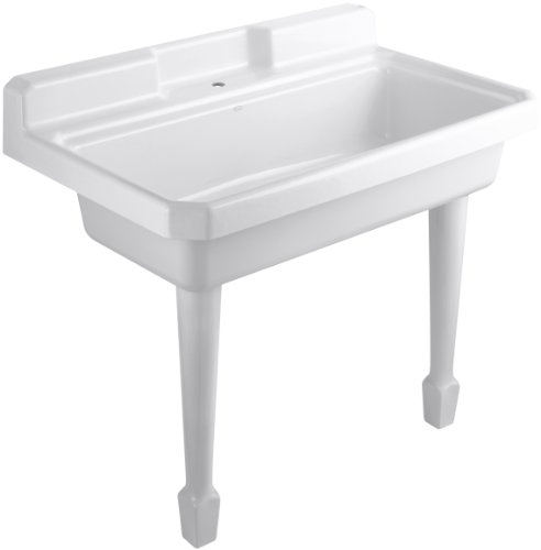 - Kohler K-6607-1-0 Harborview Self-Rimming or Wall-Mount Utility Sink with Single-Hole Faucet Drilling on Center Deck of Sink, White