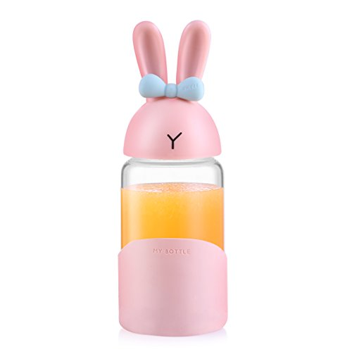 ONEISALL SB62132 Cute Glass Water Bottle for Girls Boys Women with Silicone Sleeve & Handle, Bunny Glass Travel Drinking Bottles for Juice Beverage Milk, 340ML (Pink) - Glass Bunny
